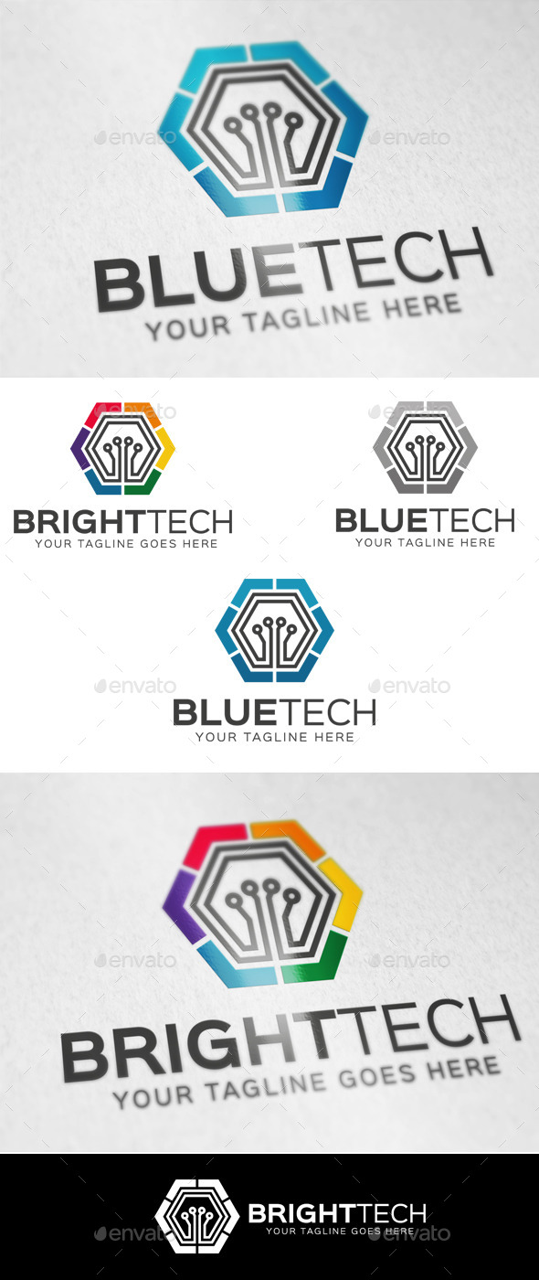 Blue Tech Logo Template - Abstract Logo Templates