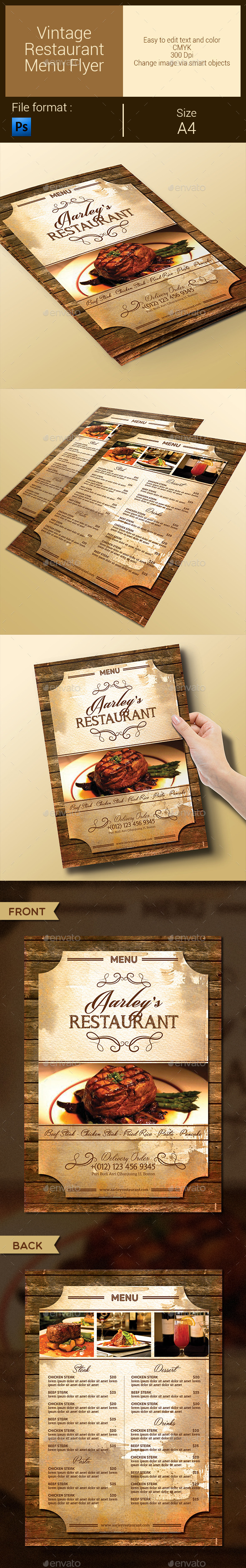 Vintage Restaurant Menu Flyer - Food Menus Print Templates
