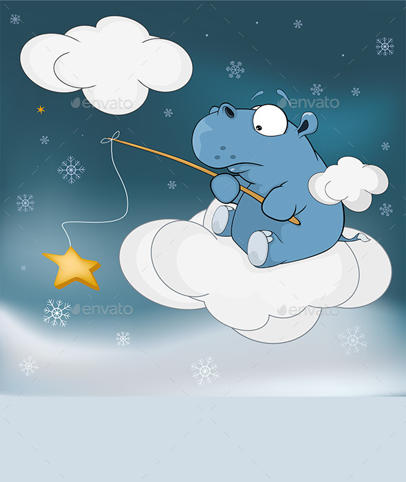 Little Hippo and Star Cartoon  - Seasons/Holidays Conceptual