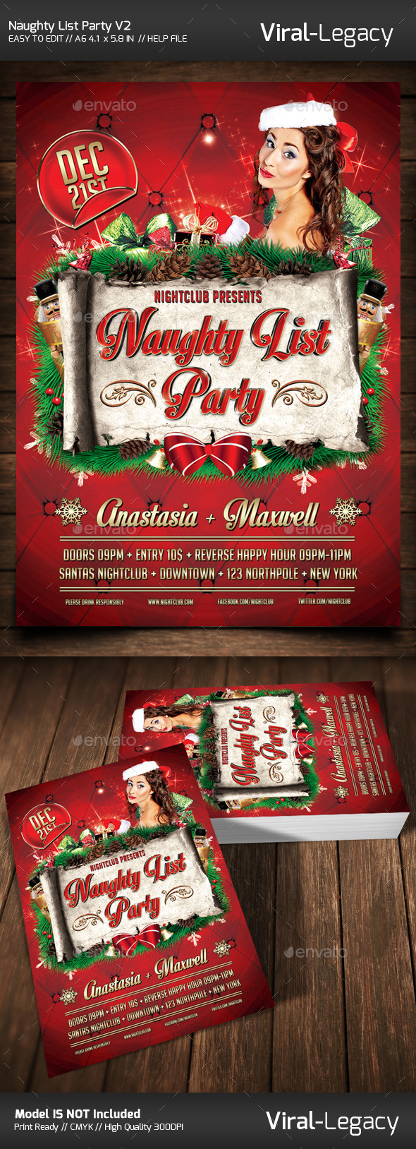 The Naughty List Party V2 - Flyers Print Templates