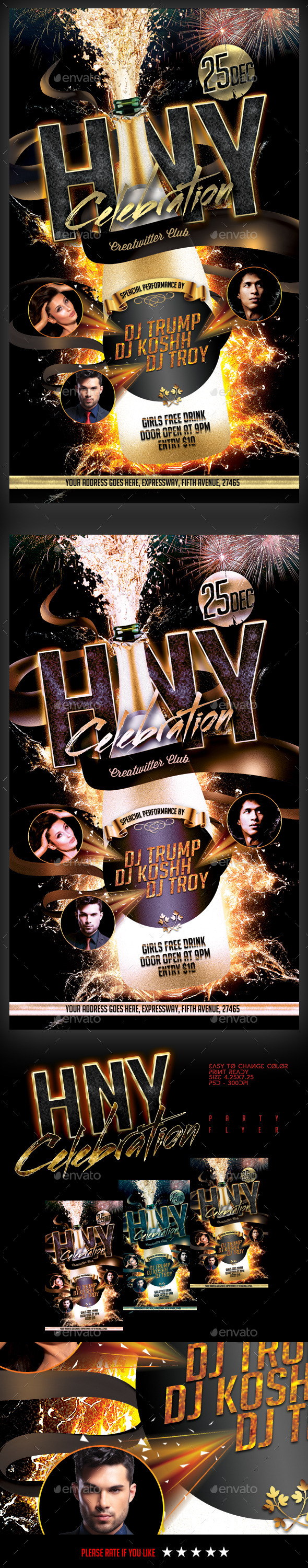 HNY Celebration Party Flyer - Clubs & Parties Events