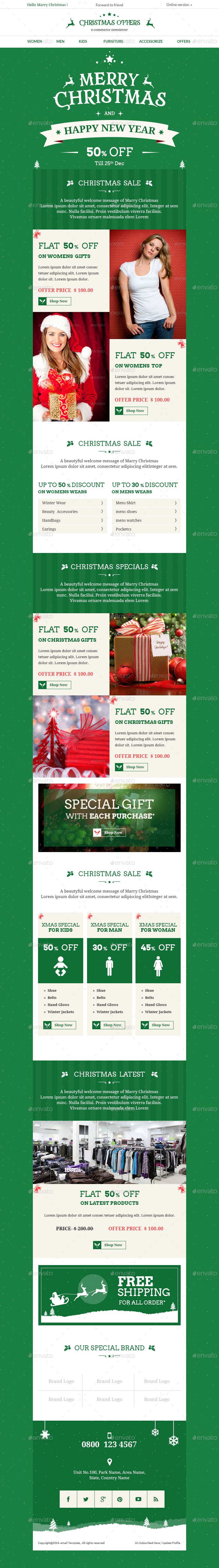 Christmas Offers E-commerce e-newsletter PSD Template by aksharthemes