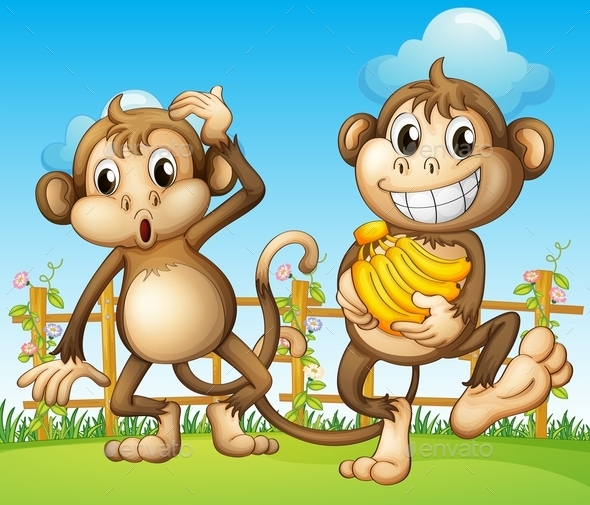 Two Monkeys with Bananas - Animals Characters
