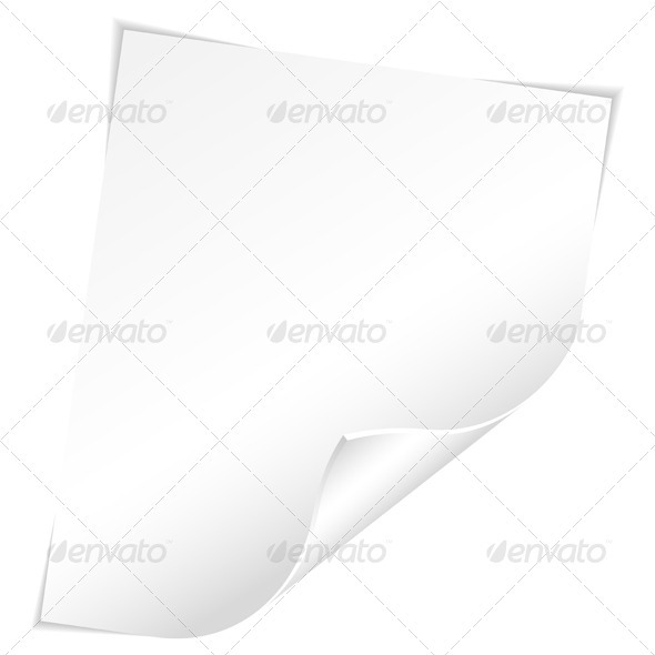 Blank Sheet of Paper with Curved Corner - Borders Decorative