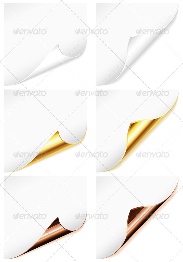 Collection Blank Sheet of Paper with Curved Corner - Borders Decorative