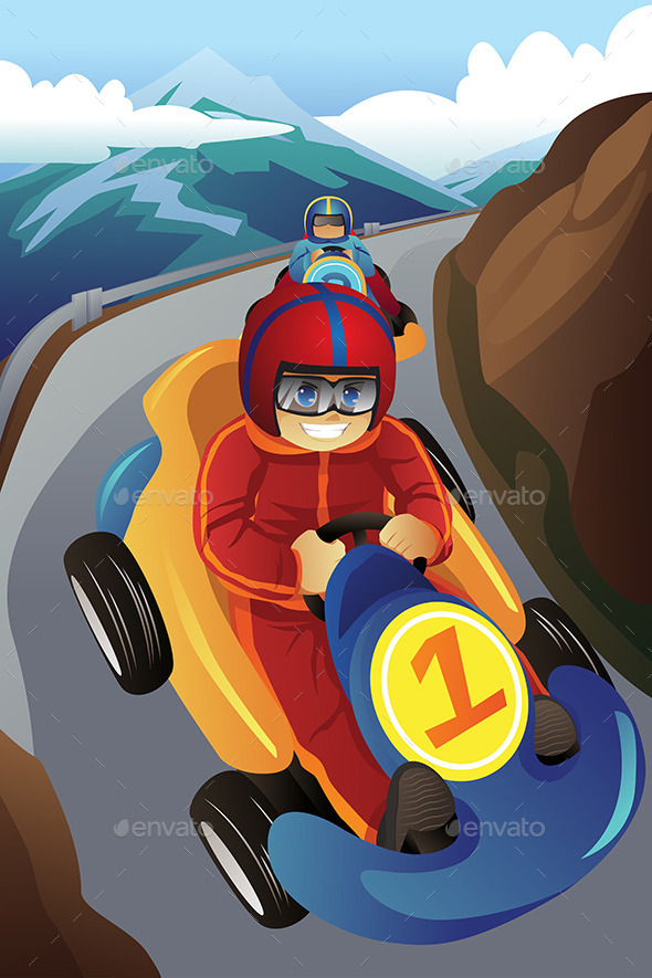 Kids Racing in a Go-Kart - Sports/Activity Conceptual