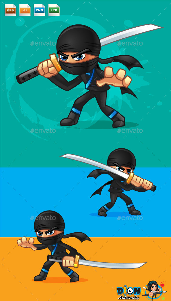 Cartoon Ninja - Characters Vectors