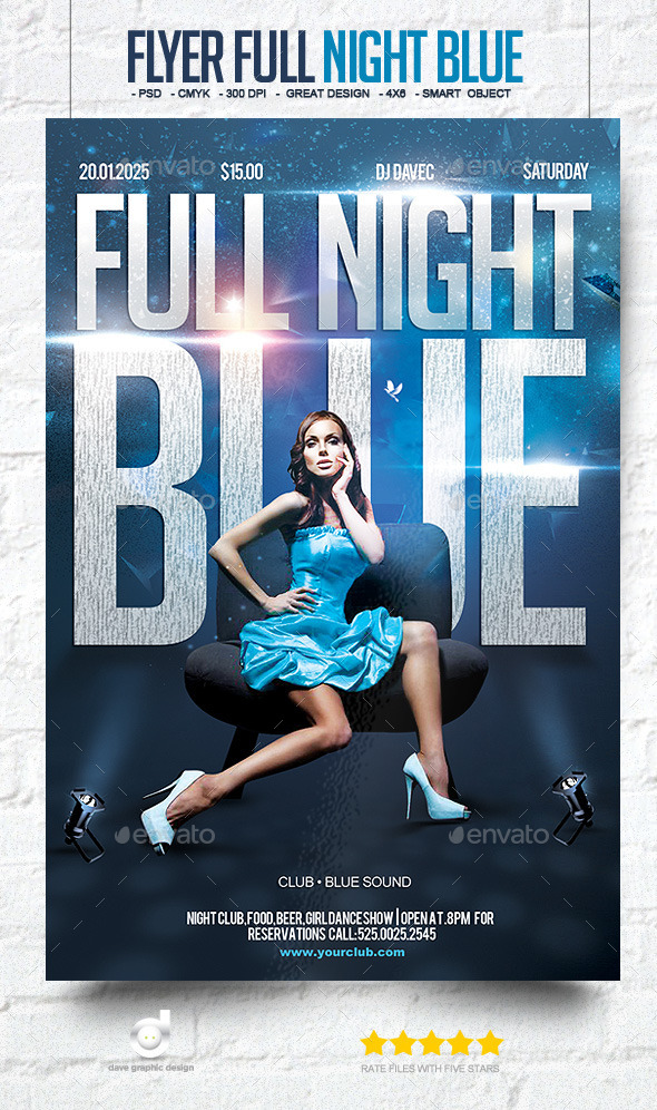 Flyer Full Night Blue Party - Clubs & Parties Events
