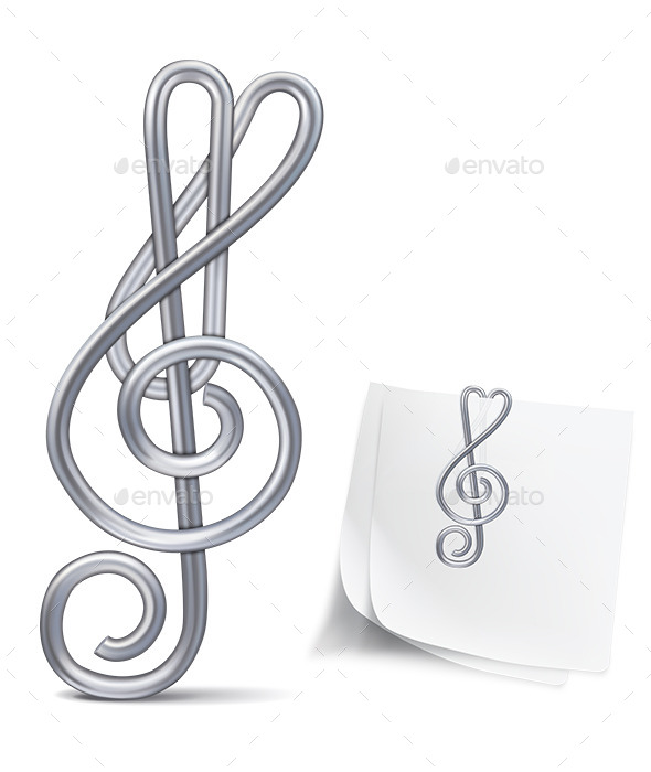 Paper Clip Treble Clef - Man-made Objects Objects