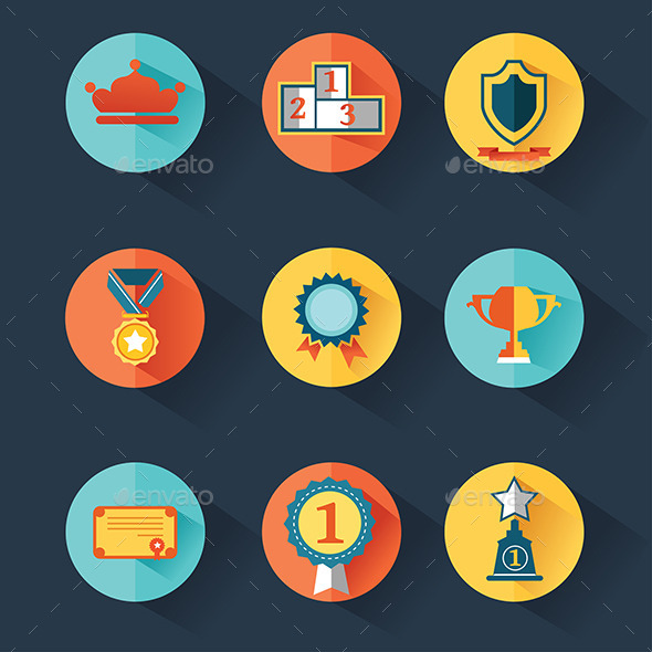 Award Icons Set - Objects Vectors