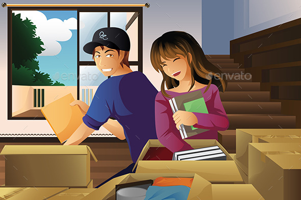 Young Couple Unpacking Boxes - People Characters