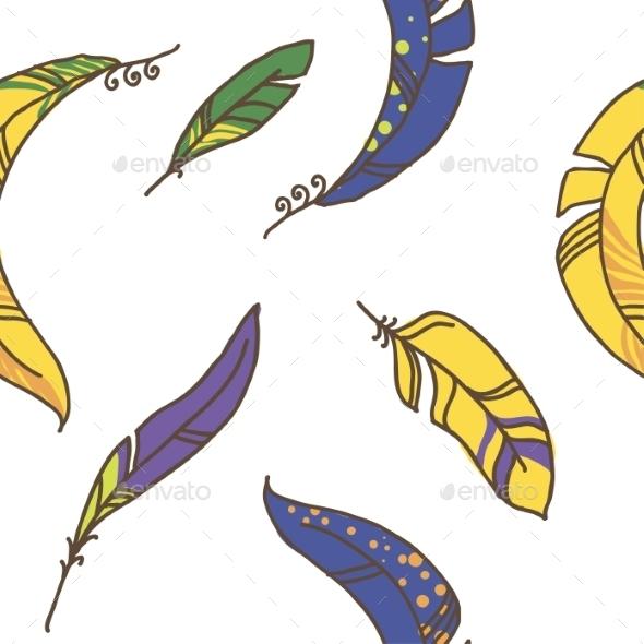 Seamless Pattern of Plumage - Patterns Decorative