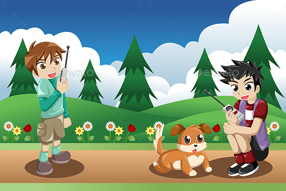 Kids Playing with Their Dog - People Characters