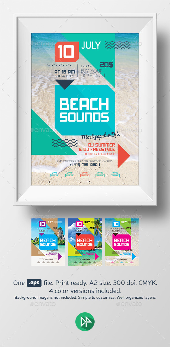 Beach sounds poster template - Events Flyers