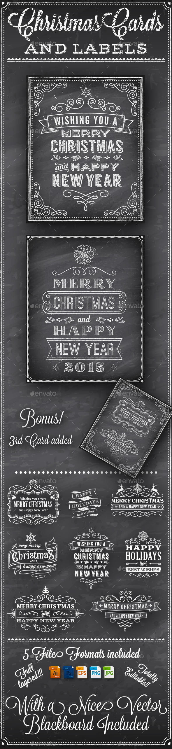 Christmas Vector Chalkboard Labels - Christmas Seasons/Holidays