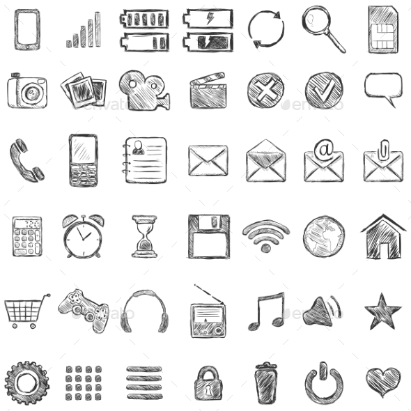 Set of Sketch Mobile Icons - Communications Technology