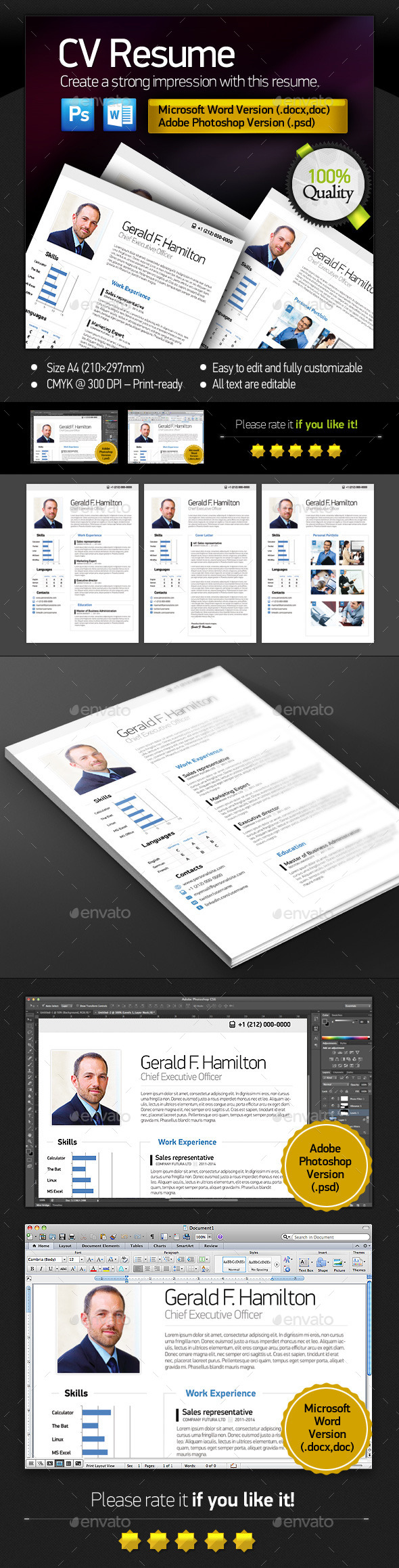 Clean Resume  / CV - Stationery Print