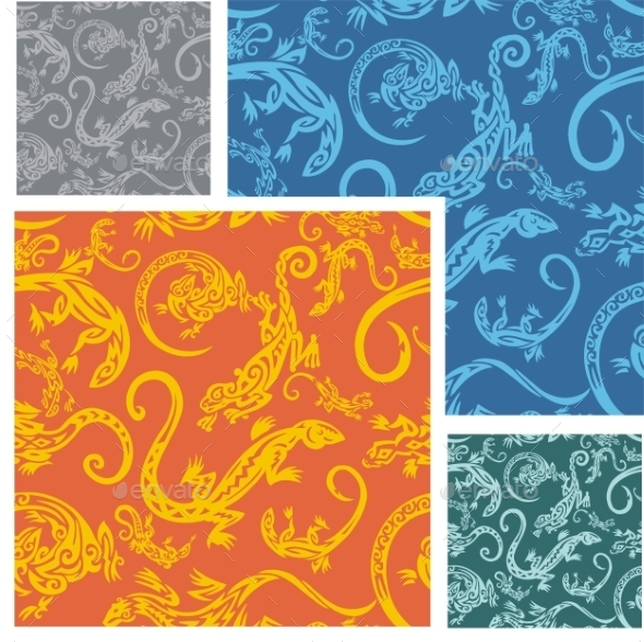 Lizards Seamless Pattern Set - Backgrounds Decorative