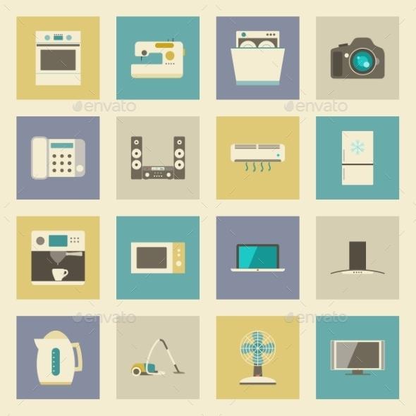 Electrical Appliances Flat Icons Set - Miscellaneous Vectors
