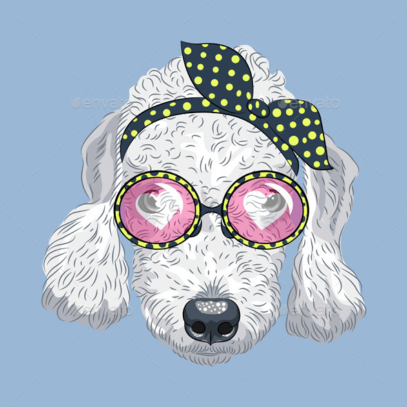 Cartoon Hipster Dog Bedlington Terrie - Animals Characters