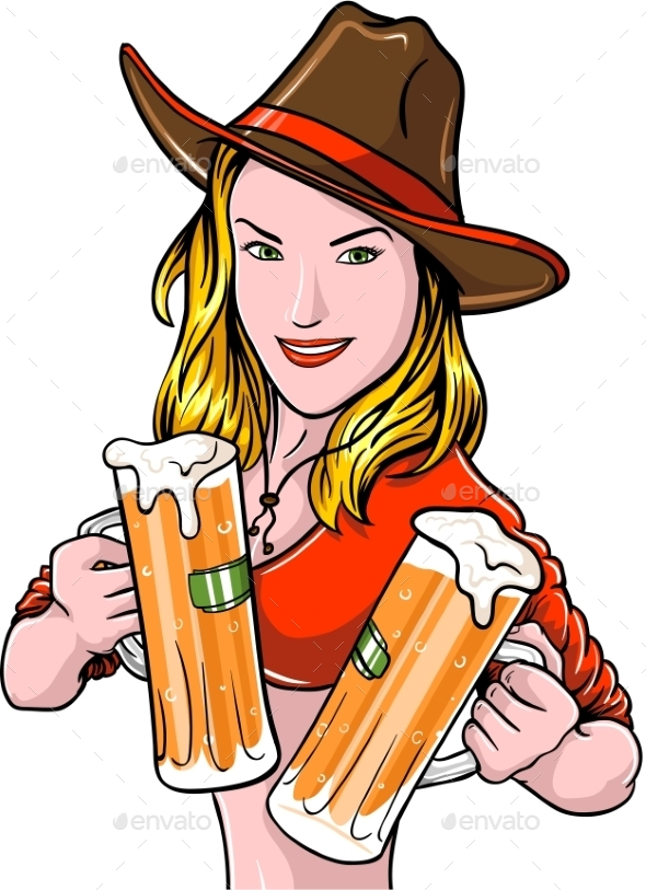 Cowgirl with Beer - People Characters