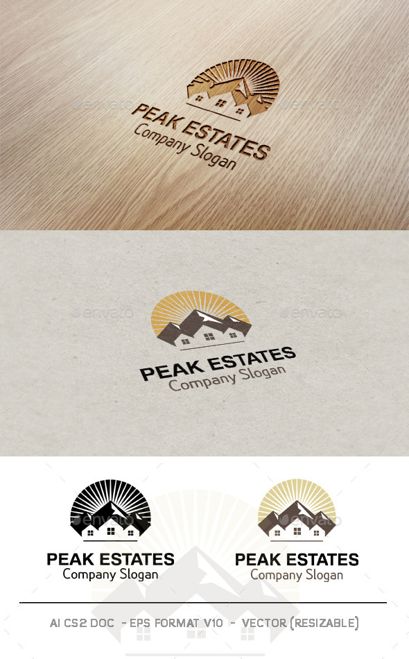 Peak Estates Logo - Buildings Logo Templates