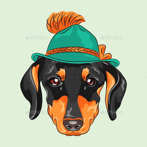 Cartoon Hipster Dog Dachshund - Animals Characters