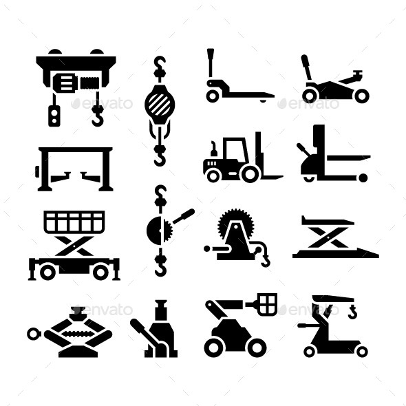 Set Icons of Lifting Equipment - Man-made objects Objects