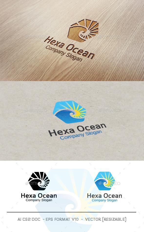 Hexa Ocean Logo - Nature Logo Templates