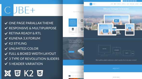 Cube+ | One Page Parallax Joomla Theme
