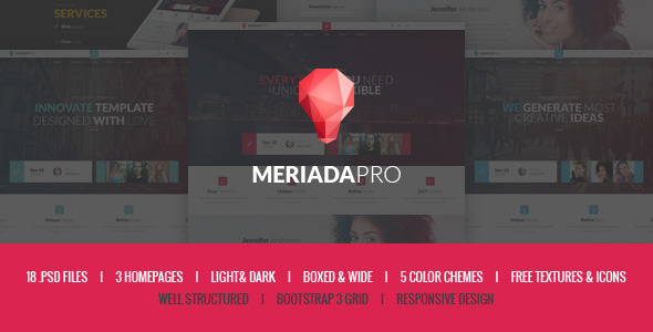 Meriada Pro - Responsive Corporate PSD Template
