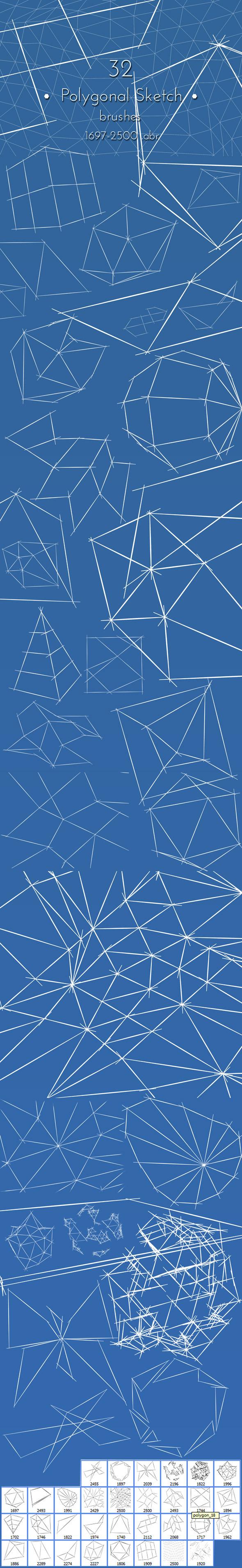 Polygonal Photoshop Brushes - Techno / Futuristic Brushes