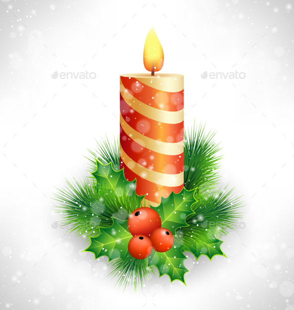 Christmas Candle with Holly Pine - Backgrounds Decorative