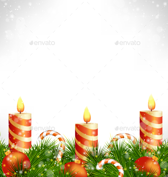 Christmas Candles with Balls, Candy Canes and Pine - Backgrounds Decorative