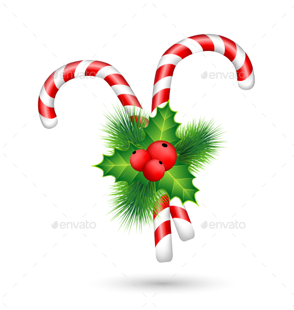 Two Candy Canes with Holly  - Backgrounds Decorative