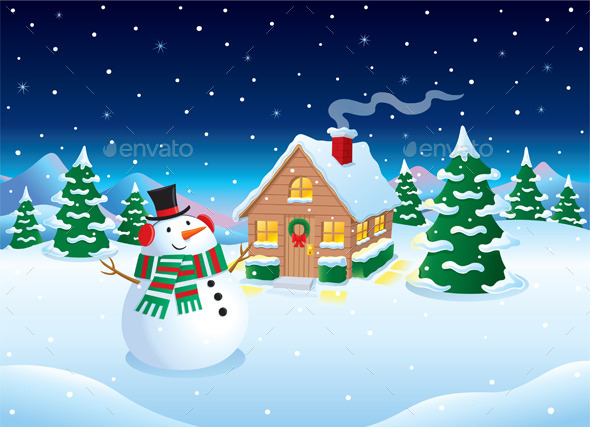 Snowman and Cabin Winter Night Scene - Christmas Seasons/Holidays