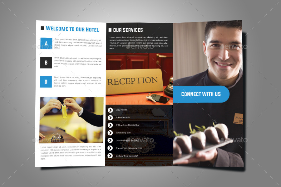 Modern hotel tri fold brochure design by for Hotel brochure design