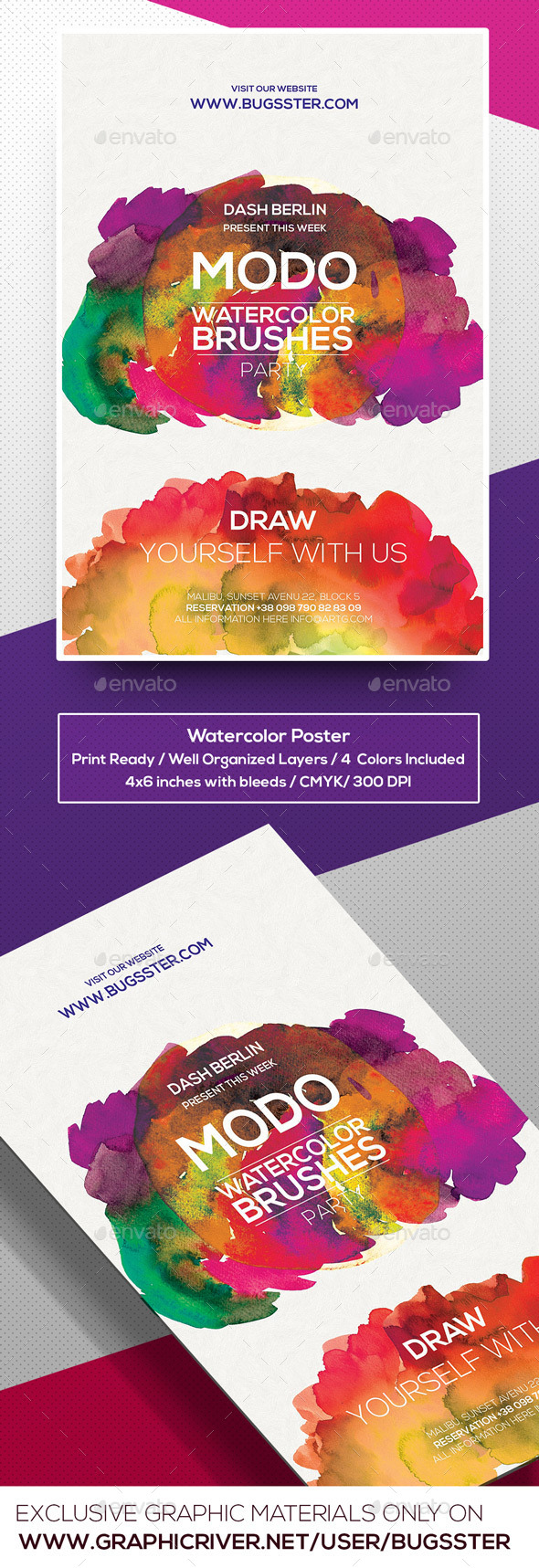 Watercolor Art Flyer/Poster Template - Events Flyers