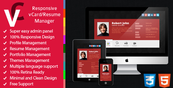 Premium - Responsive vCard/Resume Manager - CodeCanyon Item for Sale