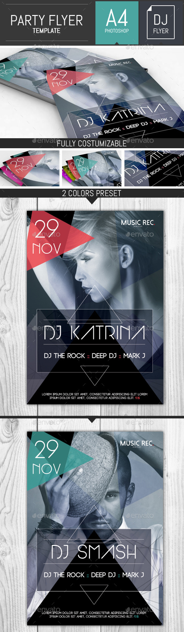 Abstract Party Dj Flyer Template - Clubs & Parties Events
