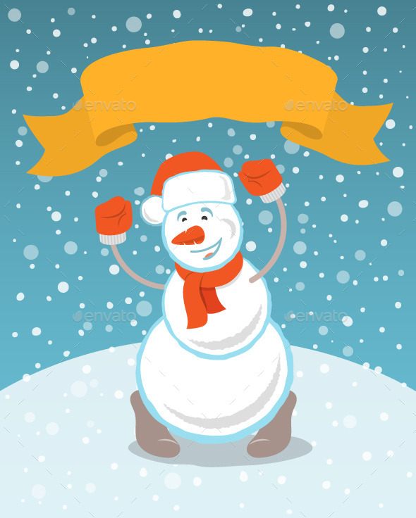 Happy Snowman with a Ribbon - Miscellaneous Characters