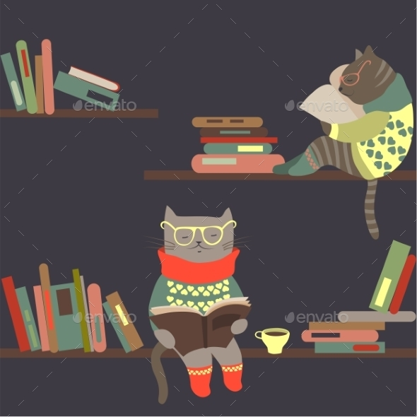 Cats Reading Books on Bookshelves - Monsters Characters