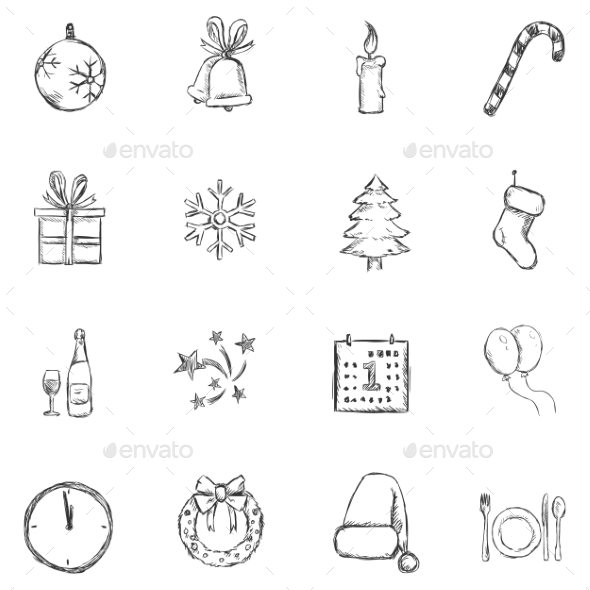 Set of Sketch Christmas and New Year Icons - New Year Seasons/Holidays