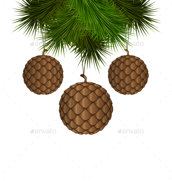 Brown Cones like Christmas Balls - Backgrounds Decorative