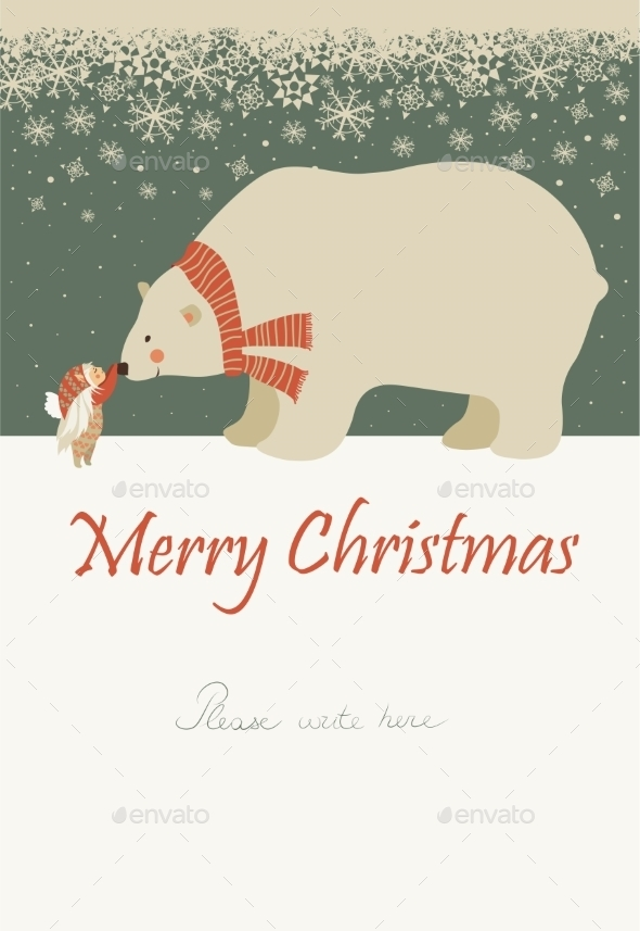 Little Angel and Polar Bear Celebrating Christmas - Christmas Seasons/Holidays