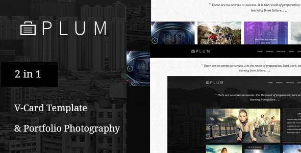 Plum - V-Card & Portfolio Gallery PSD Template