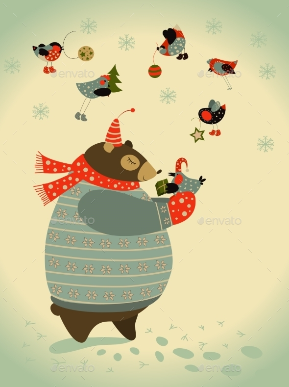 Bear and Birds Celebrate Christmas - Christmas Seasons/Holidays