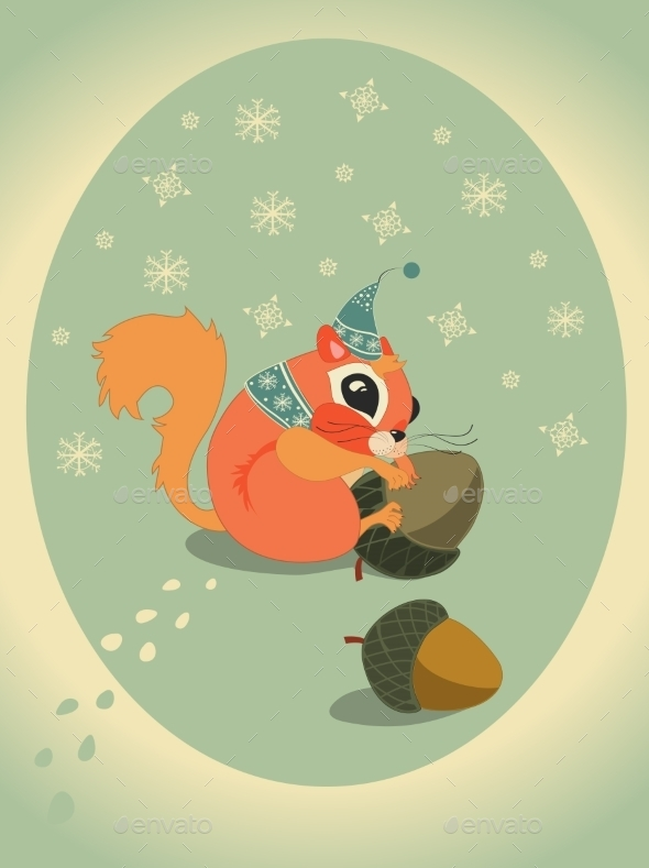 Winter Squirrel on Snow with Acorn - Christmas Seasons/Holidays
