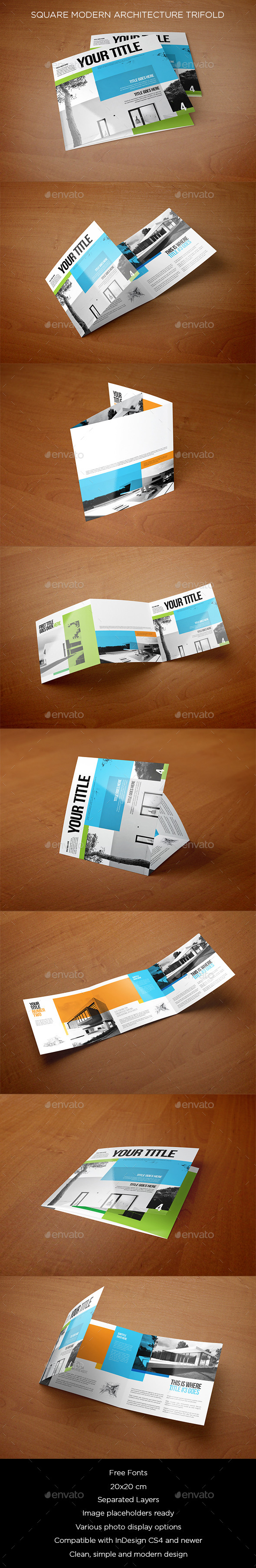 Square Modern Architecture Trifold - Brochures Print Templates