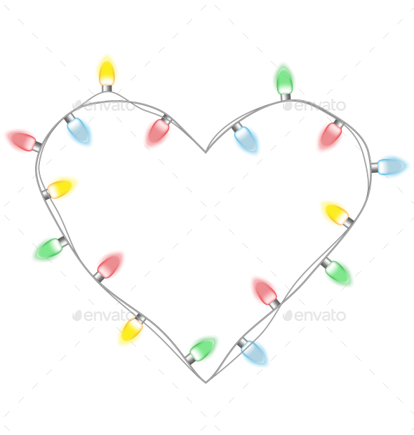 Christmas Lights Heart - Backgrounds Decorative